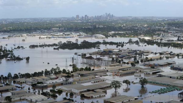 The western Brisbane industrial suburb of Rocklea inundated by floodwaters on Thursday, January. 13.