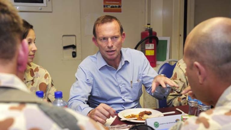 Tony Abbott during his visit to Afghanistan.