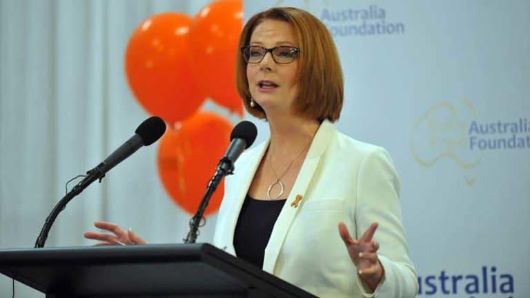 Julia Gillard launches the Bully Free Australia Foundation in Melbourne.