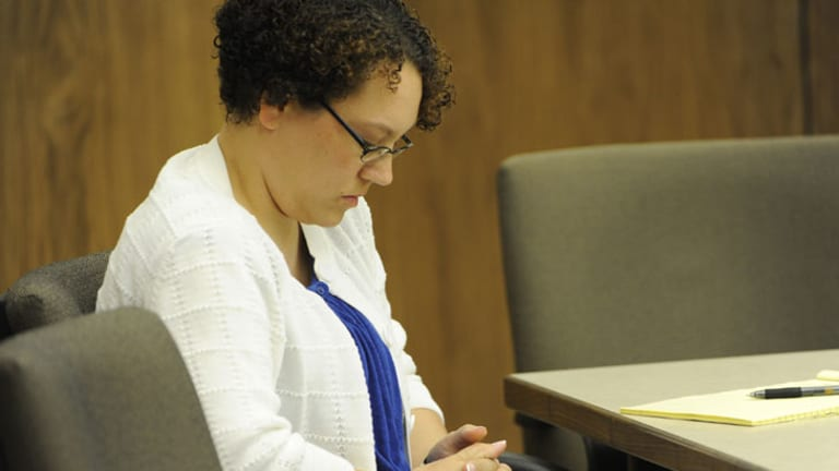 Jessica Beagley appears in court during her trial in Anchorage.