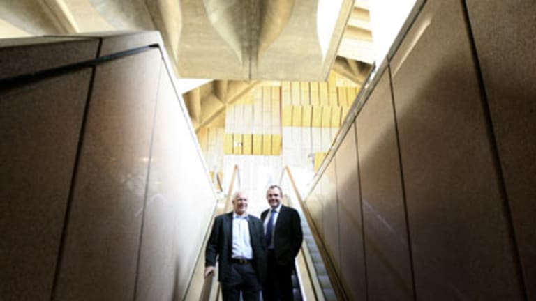 Being there...Jan Utzon and the Opera House chief executive, Richard Evans, tour the new wing.