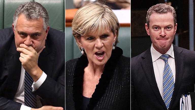 Three of of the four ministers needing protection: From left; Joe Hockey, Julie Bishop and Christopher Pyne.