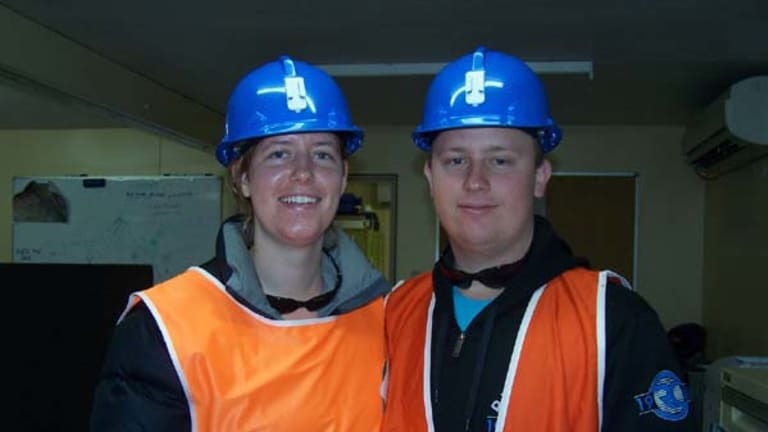 The other Australian miner feared dead, Josh Ufer, with his partner Rachelle Weaver.