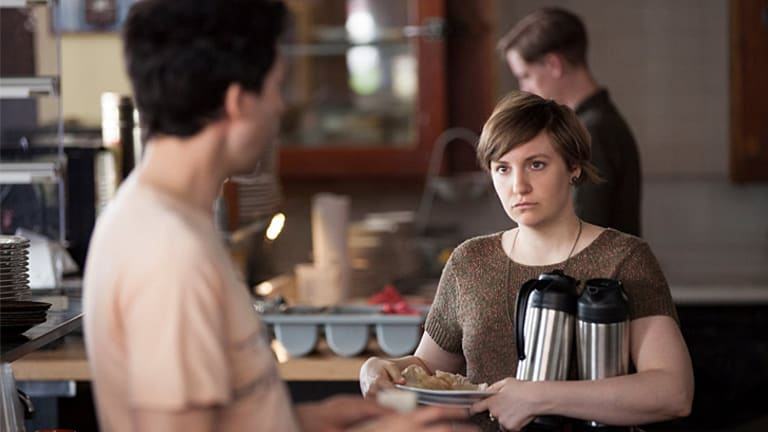<i>Girls</i> season 3  ... Lena Dunham as Hannah, with her short hair after hacking it off in season two.