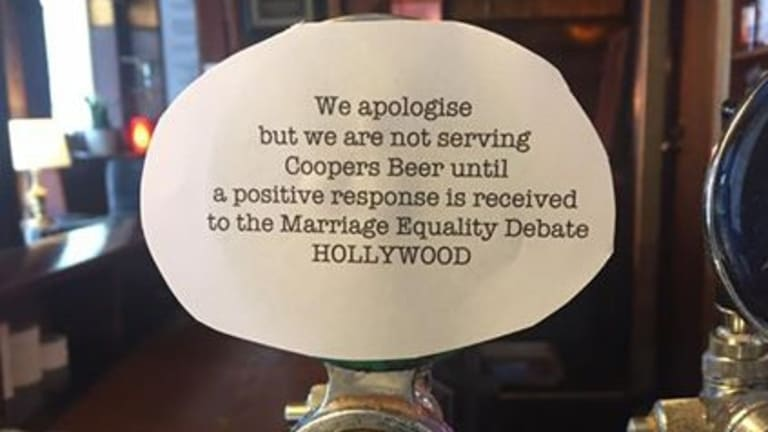 The Hollywood Hotel in Surry Hills put a note on its Coopers tap to say it would be boycotting the beer.