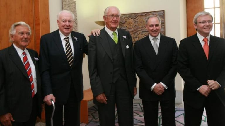Previous gathering: Bob Hawke, Gough Whitlam, Malcolm Fraser, Paul Keating and Kevin Rudd at the apology to the stolen generations at Parliament House in 2008.