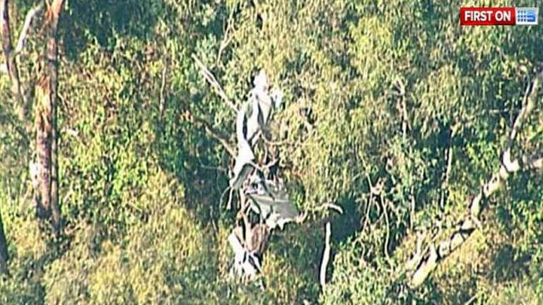 The wreckage of a plane crash that claimed six lives.