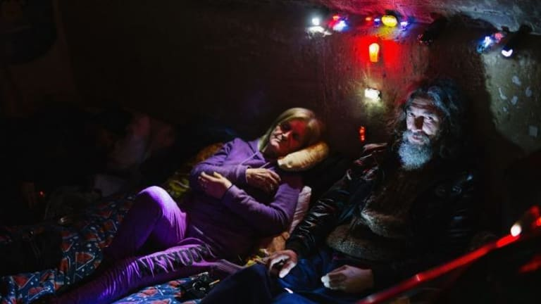 Lenny Mitcherson and Leonie Valentine in their makeshift home at Wentworth Park.