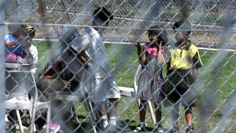 Uncertain future: Children at the Villawood detention centre.