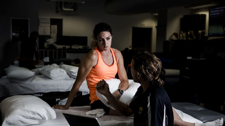 Lauren Wells at a session of physiotherapy at the AIS.