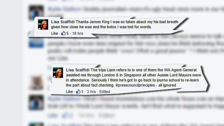 Lisa Scaffidi attacks veteran journalist Liam Bartlett on the Facebook page.