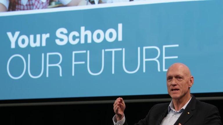 School's minister Peter Garrett speaking at the public forum earlier on Wednesday.