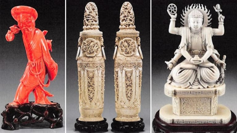Ivory statues bought from US auction houses and intended to be smuggled to Hong Kong by Chen, who operated antiques businesses in Australia and China.