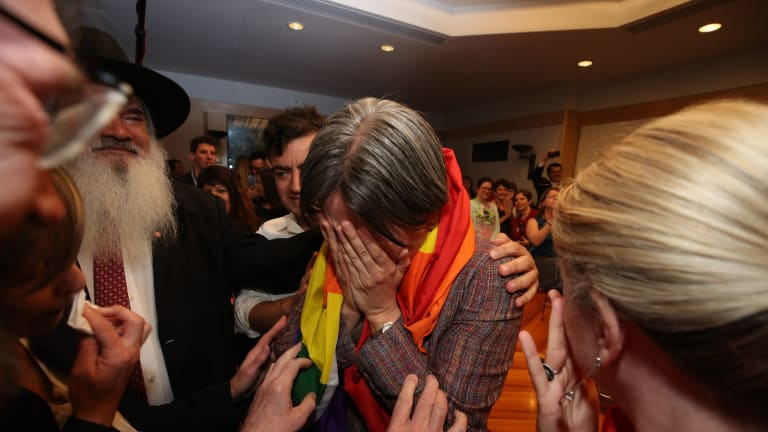 Senator Penny Wong after the result in the same sex marriage survey at Parliament House in Canberra on Wednesday 15 November 2017. Fedpol. Sexpol. Photo: Andrew Meares