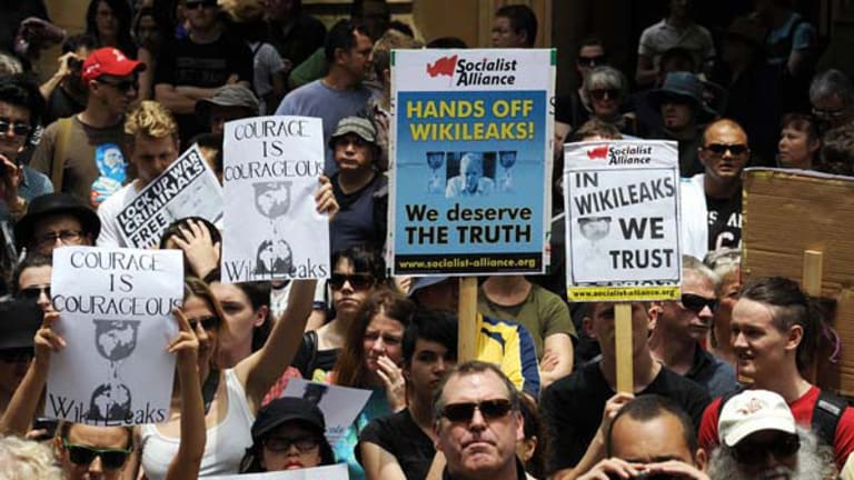 Hundreds of Australians rally in support of WikiLeaks founder Julian Assange in Sydney on Friday.