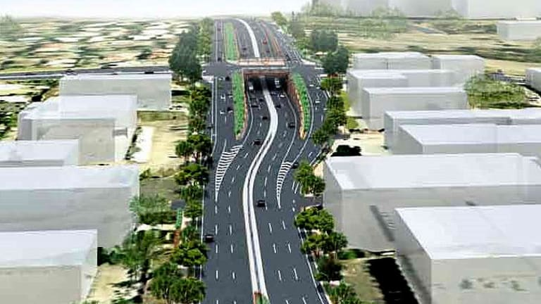 An artist's impression of the intersection of Mains and Kessels roads.