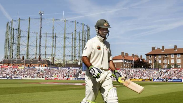 The gasometer at The Oval dwarfs Australia's Ricky Ponting in the fifth Test in London in 2009.