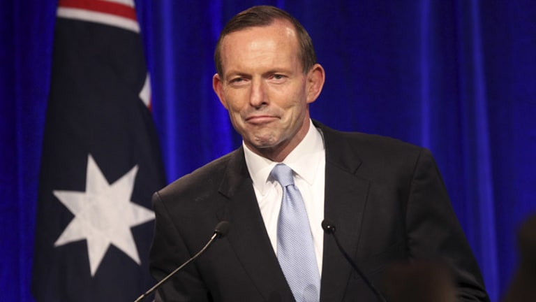 Tony Abbott gives his victory speech at the Four Seasons Hotel, Sydney.