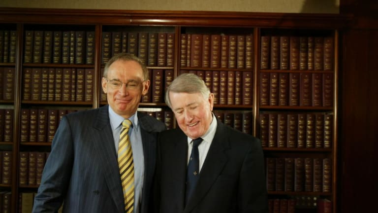 Bob Carr, then NSW Premier, with Neville Wran in 2005.