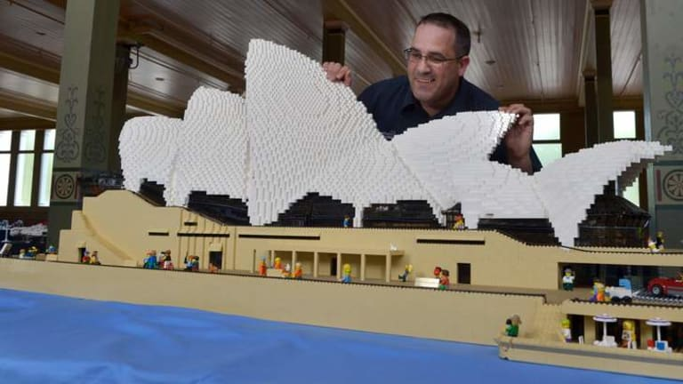 Ryan McNaught at Brickvention with the model of the Sydney Opera House he has built out of Lego.