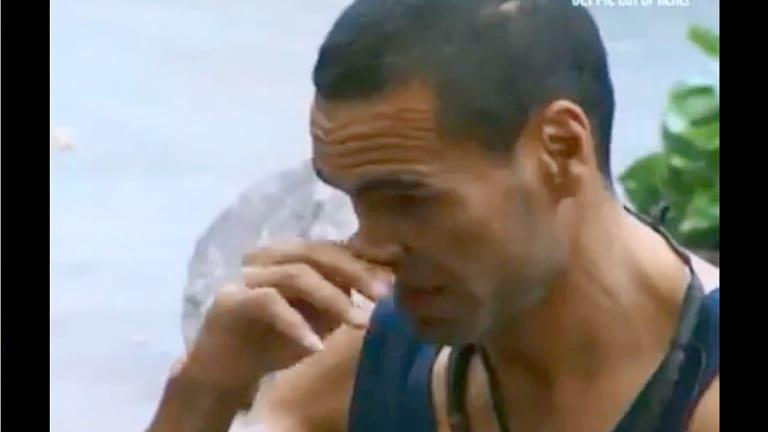 Anthony Mundine crying as he addresses I'm A Celeb contestants.