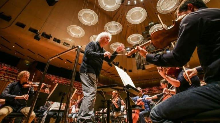 Sir Simon Rattle leads the Australian World Orchestra.