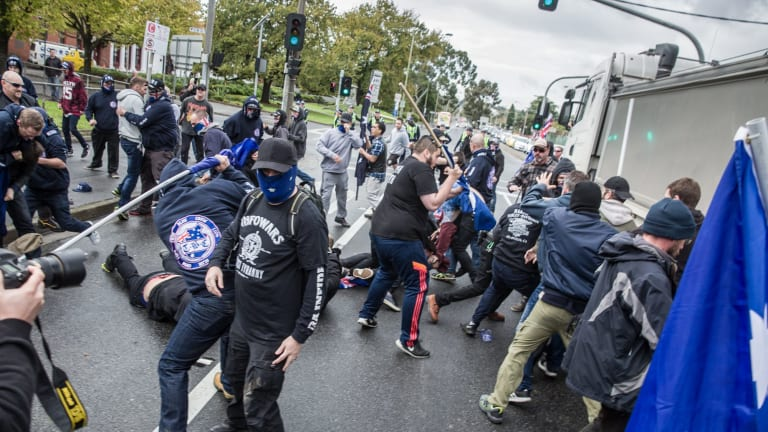 Protesters from rival anti-racism and anti-Muslim groups clash in Coburg in May.
