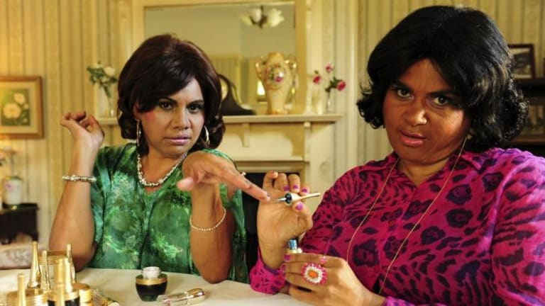 Fast-paced and consistently funny: Deborah Mailman and Elizabeth Wymarra perform their Housewives of Narromine skit in <i>Black Comedy</i>.