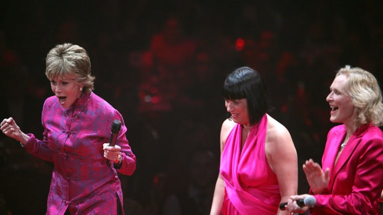 Jane Fonda, Eve Ensler and Glenn Close on stage during a performance of The Vagina Monologues in New York.