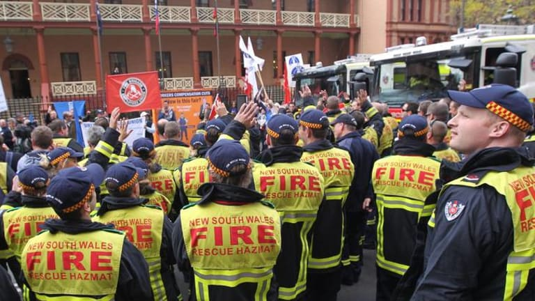 NSW firefighters are threatening to target Coalition electorates for industrial action.