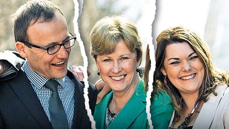 Torn loyalties: Greens MP Adam Bandt, party leader Christine Milne and senator Sarah Hanson-Young.