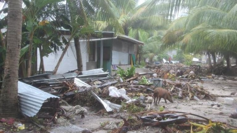 A scene in Tuvalu after Cyclone Pam hit in 2015.