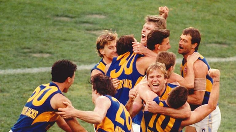 West Coast Eagles players celebrate their crushing victory over Geelong in the 1994 grand final.