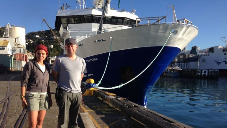 Australian scientists Dr Nat Schmitt and Dr Mike Double in front of the research vessel in Wellington allowing them to study blue and humpback whales throughout the Southern Ocean.