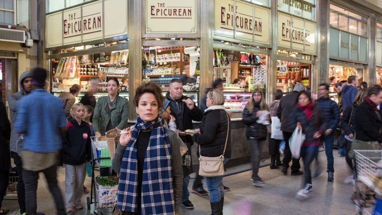 Actor Sigrid Thornton in the deli section of the Queen Victoria Market.