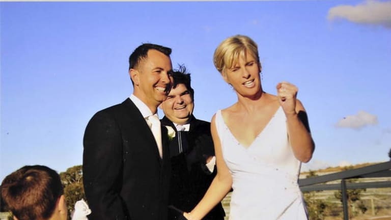 Jeremy Hanson and his wife Fleur Hanson on their wedding day.