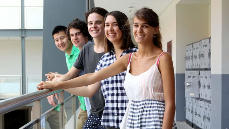 Students at Redlands school in Cremorne, Sydney, received their International Baccalaureate results today. Left to right are Ray Yue, Sam Davis, Ted Skinner, Molly Herbert and Victoria Maciejowski.