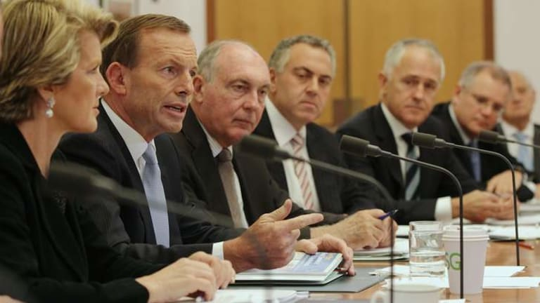 Opposition Leader Tony Abbott with his predominantly private school educated shadow cabinet. From left, Julie Bishop, Abbott, the Nationals leader Warren Truss, Joe Hockey, Malcolm Turnbull and Scott Morrison.