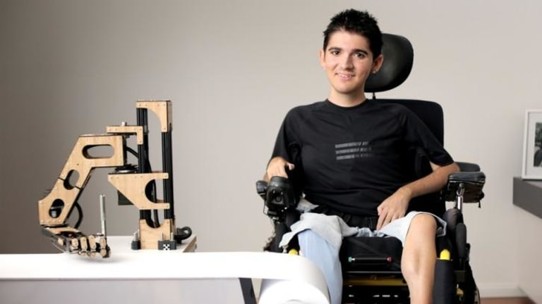 Handy device: Sydney studio Reactive's Most Powerful Arm gives children with Duchenne muscular dystrophy the ability to write.