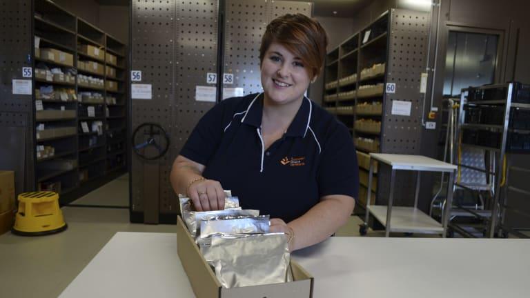 Bethany Hallam at the Australian Grains Genebank.