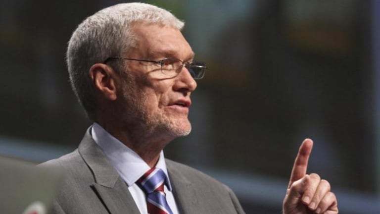 "Creation Museum head Ken Ham speaks during a debate on evolution with TV's ""Science Guy"" Bill Nye."