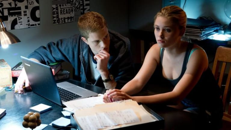 Jonny Weston is David Raskin and Virginia Gardner is Christina Raskin in Project Almanac.
