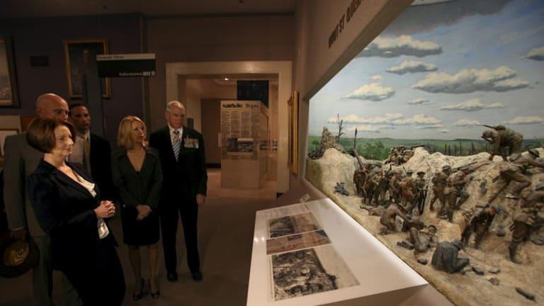 Prime Minister Julia Gillard visits the Australian War Memorial in Canberra.