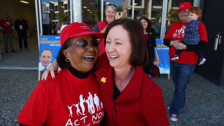 Yvette D'Ath [right] with her mother-in-law and poll booth worker Anna D'Ath during the 2013 federal election campaign.