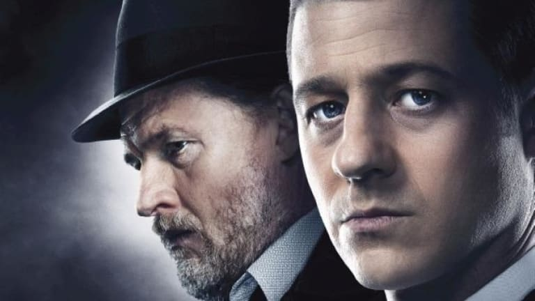 Donal Logue as Detective Harvey Bullock and Ben McKenzie as Detective James Gordon in <i>Gotham</i>.