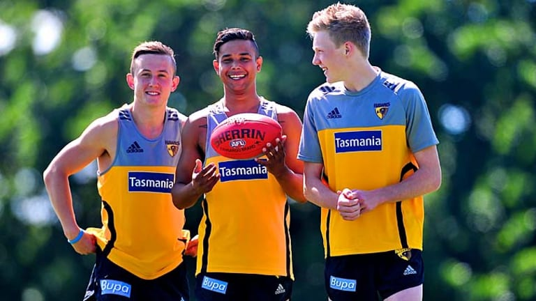 Hawthorn football clubs new draftees: L/R: Billy Hartung, Dayle Garlett and James Sicily.