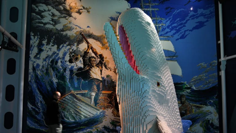 Moby Dick ... a giant Lego model on display at the Sydney Aquarium.
