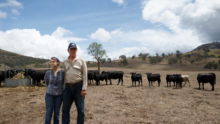 East Gresford cattle farmers Peter & Rosalie Lawrence were among those battling dry conditions in parts of eastern Australia in 2017.
