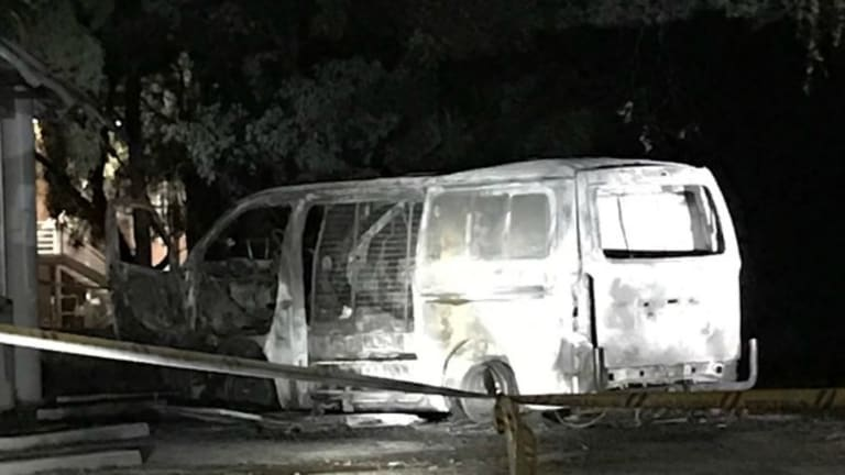 The van that drove into the Australian Christian Lobby's headquarters and exploded in Canberra,