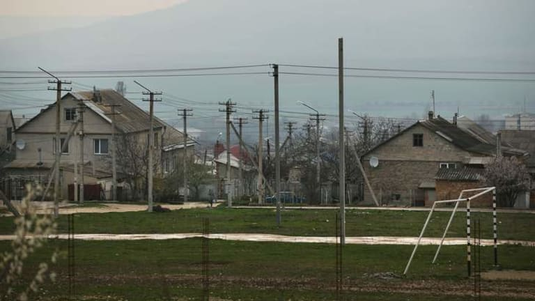 Homes in the Tatar district of Bakhchisaray, Crimea.